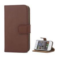Echt Split Leren, top kwaliteit Magnetic Wallet Stand Case voor iPhone 4 4S - Bruin