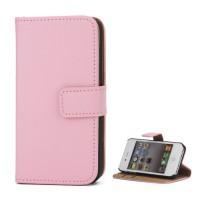 Echt Split Leren, top kwaliteit Magnetic Wallet Stand Case voor iPhone 4 4S - Roze