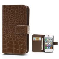 Bruine krokodillenleer Case voor iPhone 4 4S met kaarthouder