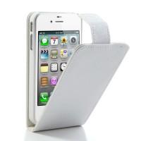 Verticaal Lederen Case voor iPhone 4 4s - Wit