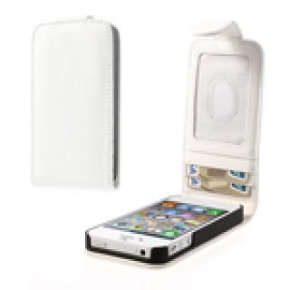 Verticaal Lederen kaarthouder Case voor iPhone 4 4s - Wit
