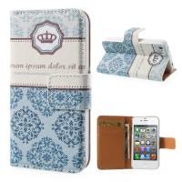 Kroon bloemen case voor iPhone 4 4S met creditcard houder