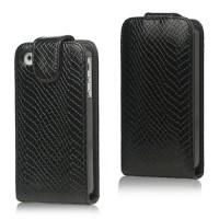 Lederen magnetische Flip Case voor iPhone 4 4S - Zwart