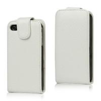 Geweven lederen magnetische Flip Case voor iPhone 4 4S - Wit