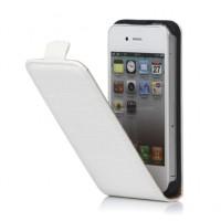 Top kwaliteit Crocodile Leren Flip Case Cover voor iPhone 4 4S - Wit
